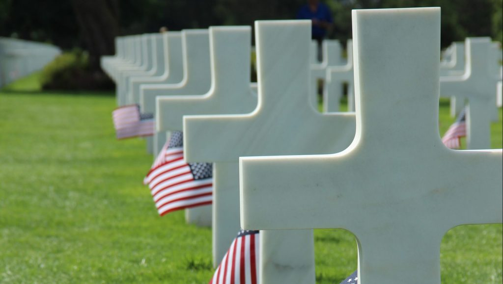 Crosses at the American Cemetery in Normandy