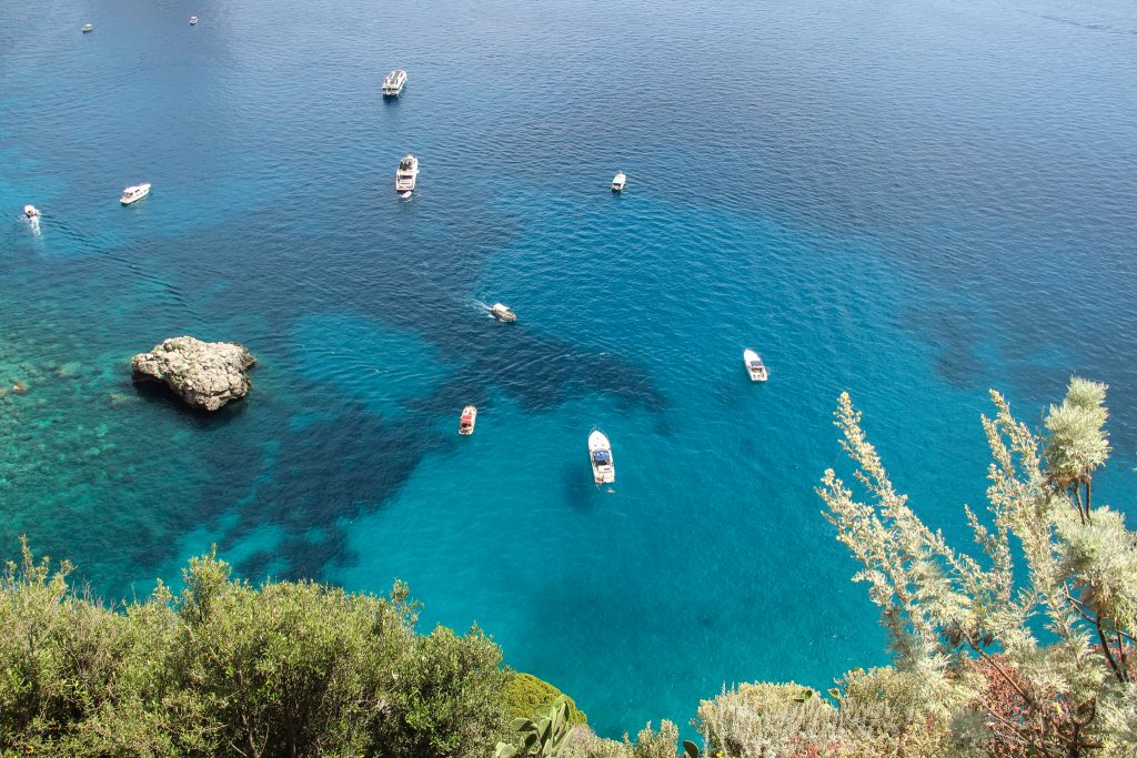 View of the blue water from the island of Capri