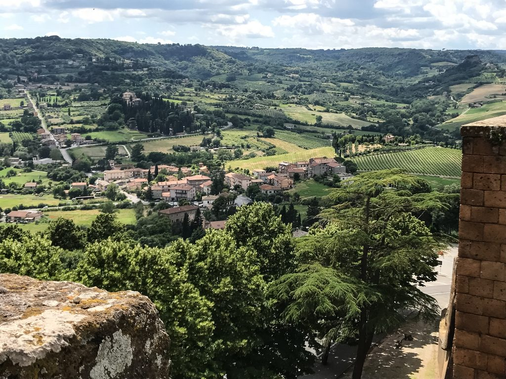 View of the Italian countryside atop the wall in Orvieto Italy